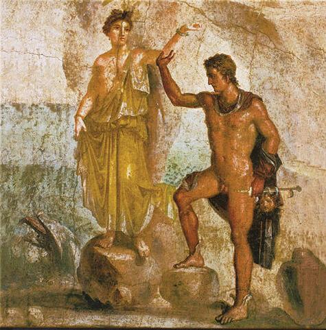 Andrômeda e Perseus. Mural de Pompéia.