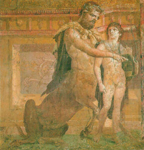 Quiron ensina o jovem Aquiles, Afresco romano antigo.