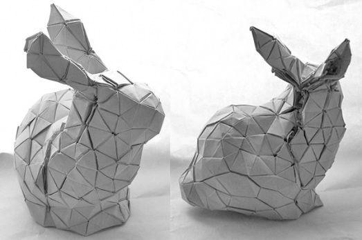 origami bunny by Tomohiro Tachi | Origami, 1000 paper cranes, Bunny
