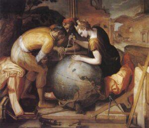 Geometria medindo a Terra. Frans Floris.