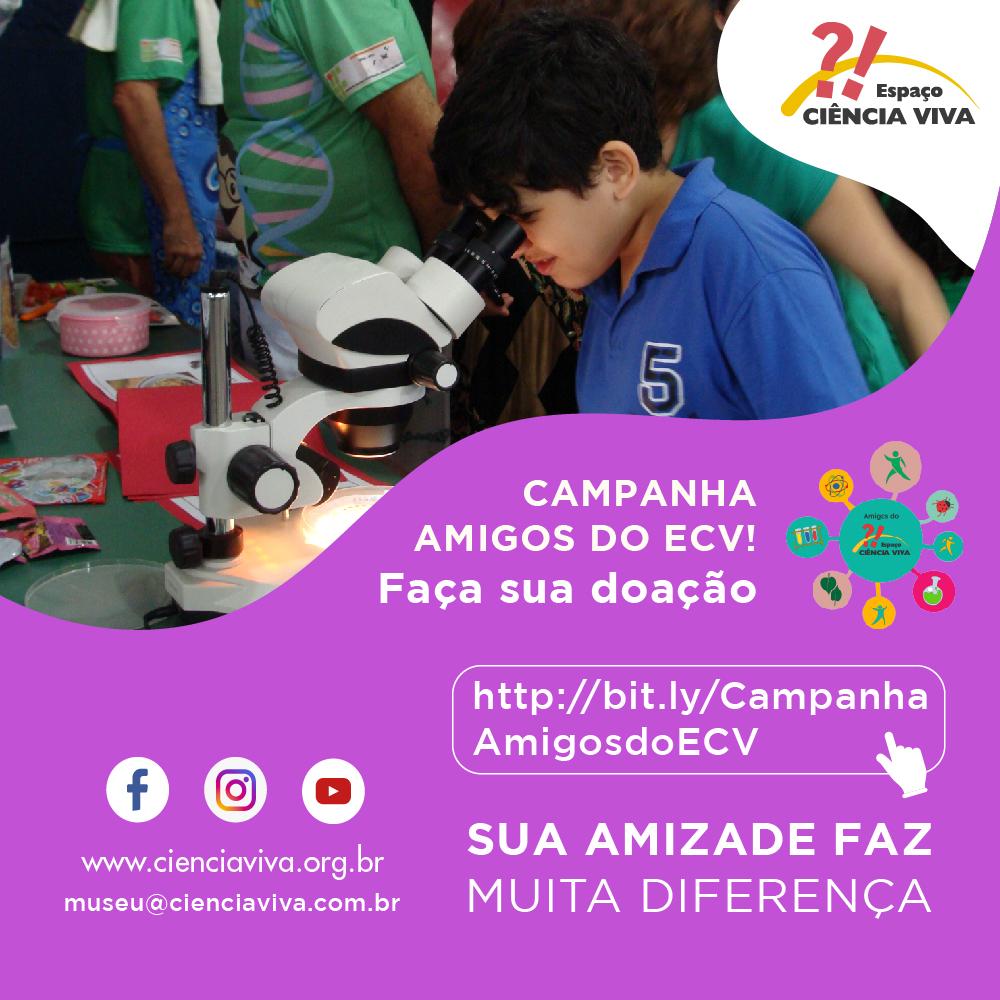 Campanha Doações Amigo ECV, com imagem de menino olhando microscópio ao fundo.