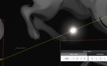 Imagem do Sol (em escala ampliada) na Constelação de Leão em 1º de setembro